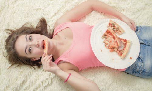 overeat girl lying