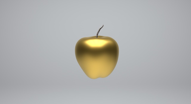 High resolution 3D image.3d render golden apple