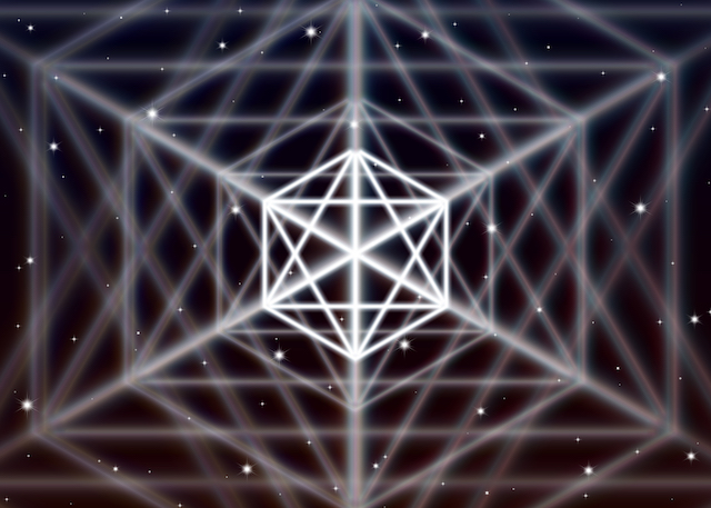 術・Magic hexagon symbol spreads the shiny mystic energy in spiritual space