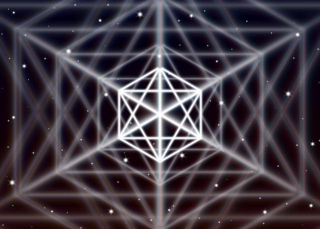 Magic hexagon symbol spreads the shiny mystic energy in spiritual space