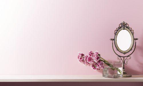 物・自然・鏡、ピンクの壁と棚の室内イメージ