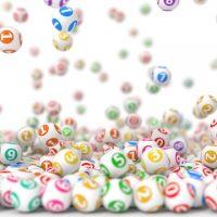 数・ボール3d illustration of falling lottery balls