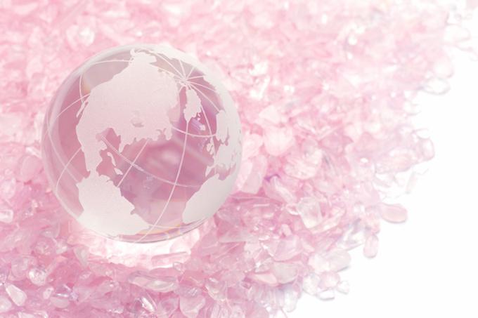 rose quartz and terrestrial globe