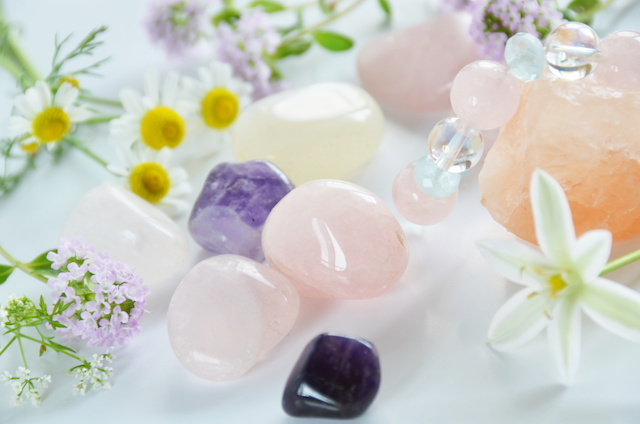 gemstones with herbs