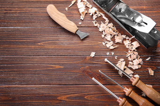 Carpenter's tools on wooden table