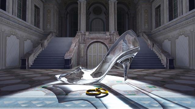 ガラスの靴とシンデレラ城