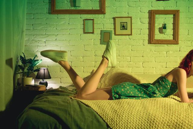 緑色の寝具