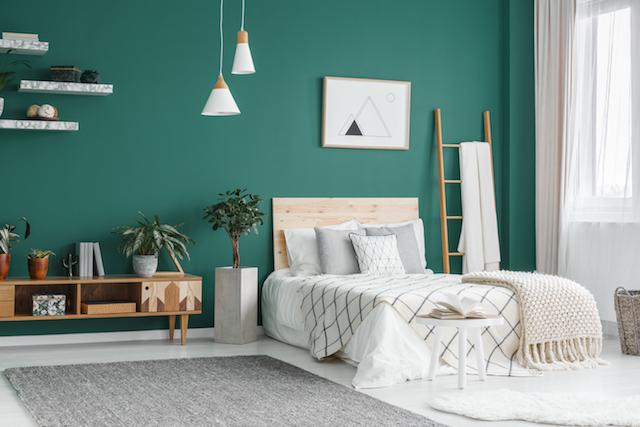 緑色 寝室