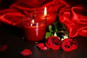 キャンドル 赤い布