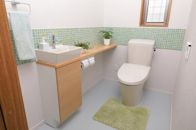 観葉植物のあるトイレ