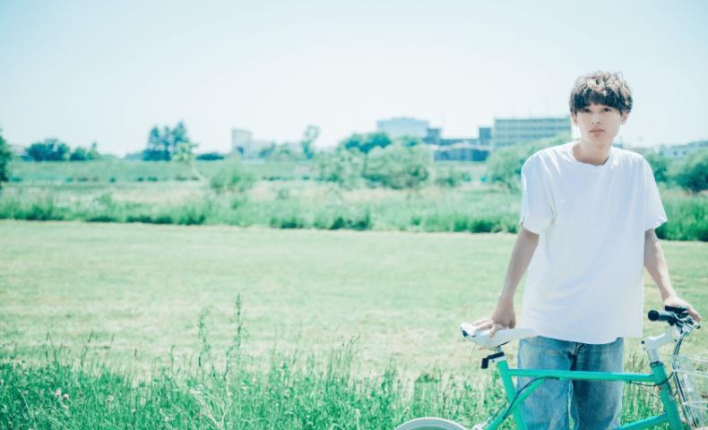 自転車と男性2