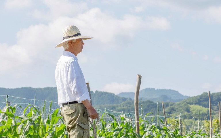 畑に佇む老人