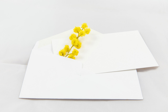 黄色いミモザと封筒