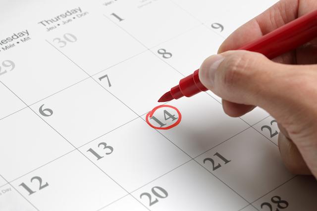 カレンダーにマル