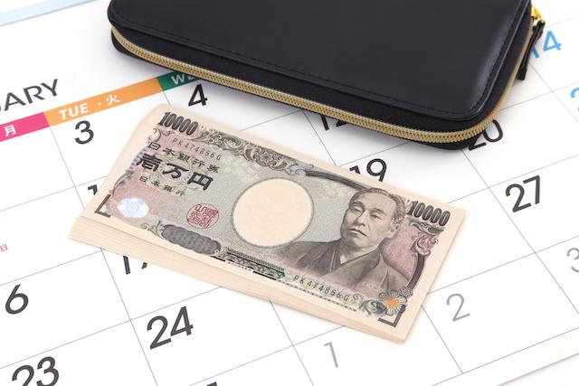 金・財布とカレンダー
